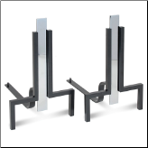 Modern Stapleton Polished Nickel & Black Fireplace Andirons (SKU: 18674)