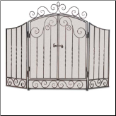 Three Panel Vienna Fireplace Screen with Scrollwork and Doors (SKU: 1932-)