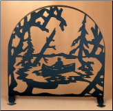 "Canoe At Lake Arched Fireplace Screen 30""W X 30""H (SKU: MT 2)"