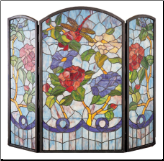 "Dragonfly Flower Folding Fireplace Screen 40""W X 34""H (SKU: MT 27234)"