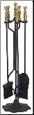 "5 Piece 31"" High Ball Handled Fireplace Tools (SKU: 30)"