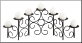 Eight Candle Black Scrolled Fireplace Candelabra (SKU: 304170)