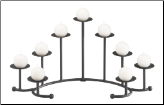 DISCONTINUED   Seven Candle Black Curved Fireplace Candelabra (SKU: 304175)