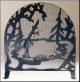 "Fly Fishing Creek Arched Fireplace Screen 30""W X 30""H (SKU: MT  -)"