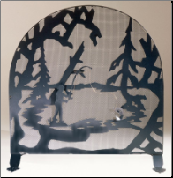 "Fly Fishing Creek Arched Fireplace Screen 30""W X 30""H"