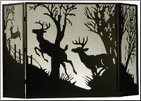 "Deer On The Loose or Deer At Dawn 3 Piece Folding Fireplace Screen 62""W X 40""H"