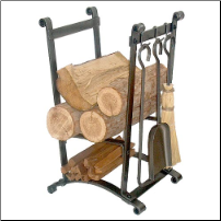 Compact Curved Log Rack with Tools