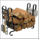 Large Modern Log Rack with Tools (SKU: EN-LR19AT)