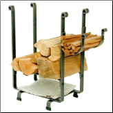 Rectangular Log Rack With Kindling and Newspaper Holder (SKU: EN-LR1BN)