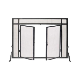 Single Panel Black Fireplace Screen With Doors (SKU: 5WZ-FS61237M-44)