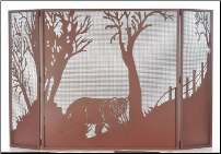 Northwoods Bear At Dusk Folding Fireplace Screen