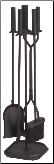 4 Piece Cylinder Handled Fireplace Tool Set (SKU: 810842)