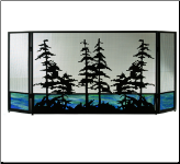 Tall Pines 3 Piece Folding Fireplace Screen With Beautiful Stained Glass Base (SKU: MT 81106)