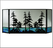 Tall Pines 3 Piece Folding Fireplace Screen With Beautiful Stained Glass Base