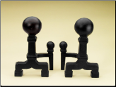 Heavy Black Balled Fireplace Andirons (SKU: 300020)