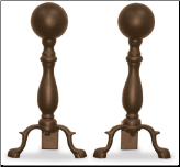 Bronze Ball Andirons (SKU: A-5817)