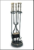 5 Pc Ball Fireplace Tool Set with Round Base (SKU: ABK-01)