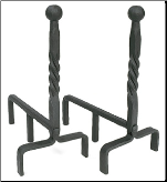Ball and Twisted Rope Fireplace Andirons (SKU: AND-07)