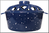 PORCELAIN COATED LATTICE TOP STEAMER- BLUE W/ WHITE SPECKLES (SKU: C-19)