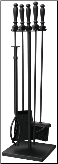 5 Piece Black Wrought Iron Fireplace Tools With Ball Handles (SKU: F-1051)