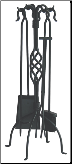 5 Piece Uniflame Black Wrought Iron Fireplace Tools With Center Weave (SKU: F-1053)