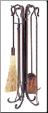 5 Piece Antique Copper Hammered Crook Fireplace Tools  (SKU: F-1266)