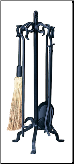 5 Piece Uniflame Heavy Weight Black Wrought Iron Fireplace Tools (SKU: F-1267)