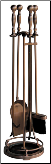5 Piece Satin Copper Fireplace Tools (SKU: F-137)