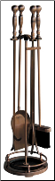 5 Piece Satin Copper Fireplace Tools