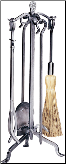 5 Piece Uniflame Pewter Fireplace Tools w/Crook Handle (SKU: F-1602)