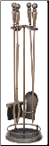 5 Piece Venetian Bronze Fireplace Tools with Ball Handles (SKU: F-1629)