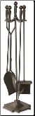 5 Piece Uniflame Bronze Fireplace Tools w/Ball Handles & Pedestal Base (SKU: F-1634)