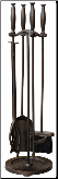 5 Piece Bronze Finish Fireplace Tools with Cylinder Handles (SKU: F-1665)