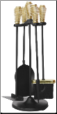 5 Piece Black and Brass Finish Stove Set with Spring Handles (SKU: F-3629)