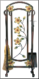 5 Piece Burnished Bronze Decorative Flower Fireplace Tools (SKU: F-6230)
