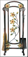 5 Piece Burnished Bronze Decorative Flower Fireplace Tools