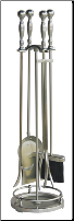 5 Piece Satin Pewter Fireplace Tools With Ball Handles