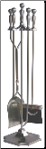 5 Piece Satin Pewter Fireplace Tools (SKU: F-7547)