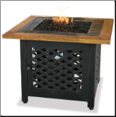Uniflame LP Gas Outdoor Fireplace w/Slate and Faux Wood Mantel (SKU: GAD1391SP)