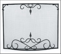 Single Panel Bostonian Curved Fireplace Screen