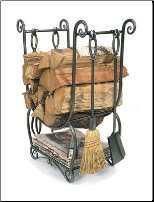 Country Wood Holder with Fireplace Tool Set