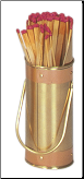 Solid Brass Fireplace Match Holder with Striker And Copper Band (SKU: M-9771)