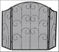 3 Panel Black Wrought Iron Fireplace Screen with Decorative Scroll