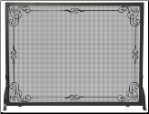 Single Panel Black Wrought Iron Fireplace Screen with Decorative Scroll (SKU: S-1615)