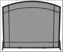 Single Panel Black Wrought Iron Mission Fireplace Screen