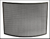 Single Panel Curved Black Wrought Iron Fireplace Screen (SKU: S-1042)
