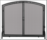 Single Panel Black Wrought Iron Screen with Doors (medium and large) (SKU: S-106)