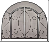 Single Panel Black Wrought Iron Ornate Fireplace Screen with Doors