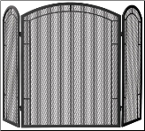 3 or 4 Panel Black Wrought Iron Arch Top Large Fireplace Screens (SKU: S-11-)