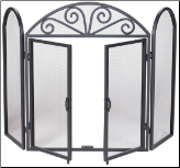 3 Fold Black Wrought Iron Screen with Opening Doors (SKU: S-1184)